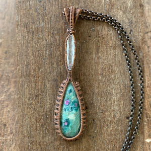 Ruby in Fuchsite with Crystal Point Pendant