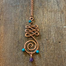 Load image into Gallery viewer, Unalome with Turquoise and Amethyst Necklace