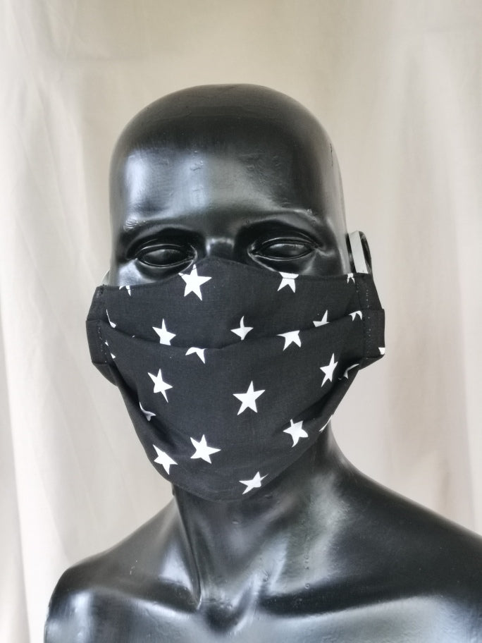 402 TYPE 1 Face mask - Black Stars, Adult M Only