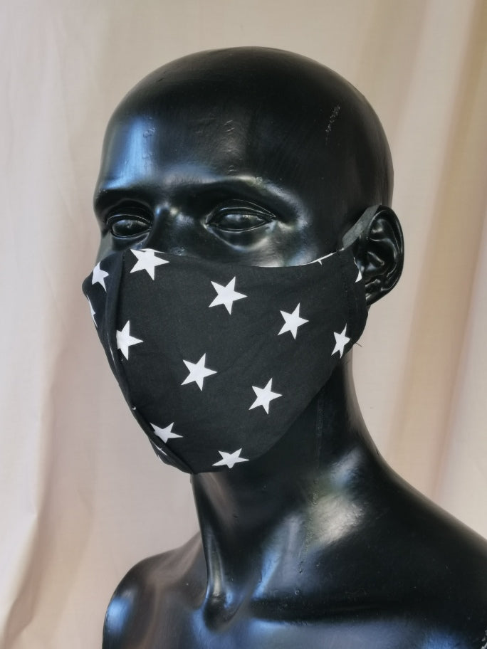 405 TYPE 2 Face mask - Black STARS, Kids(S), Med Adult & Large