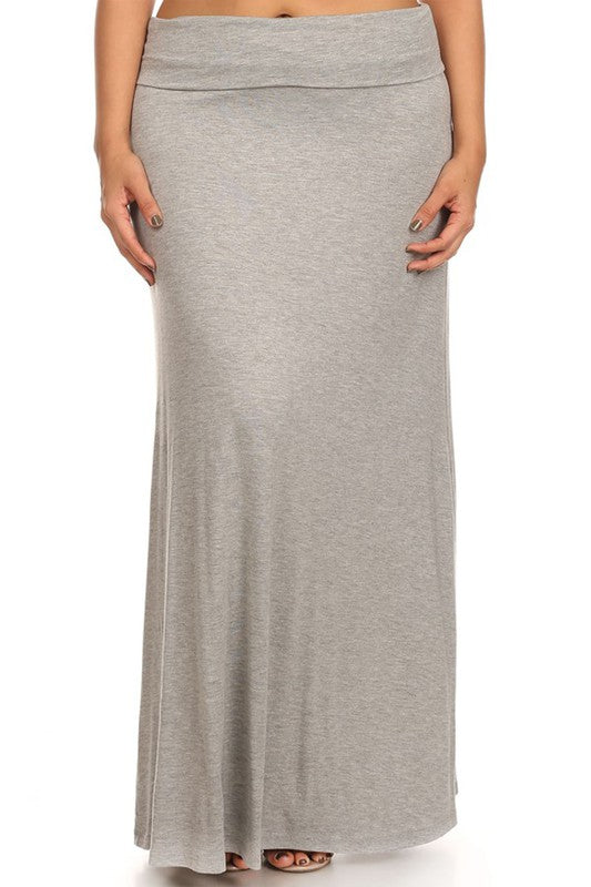 Solid High Waisted A-Line Maxi Skirt