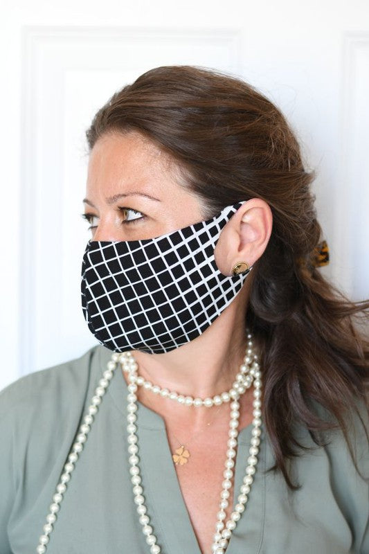 Black Ivory Grid Fashion Face Mask