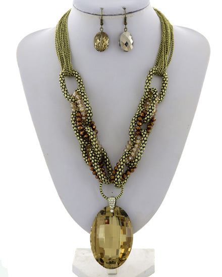 Multi Row Stone Necklace Set