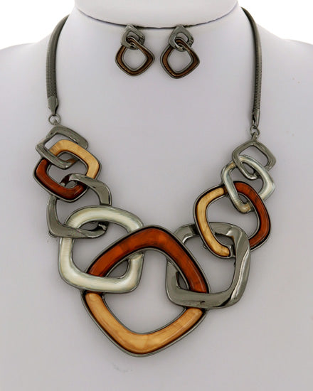 Bronze Hematite Tone Necklace Set