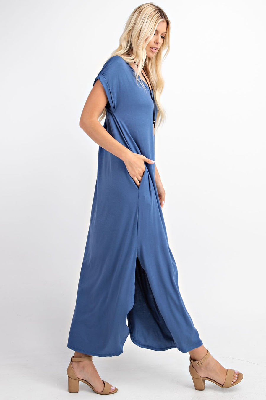 Plus Size V-Neck Short Sleeve Maxi Dress
