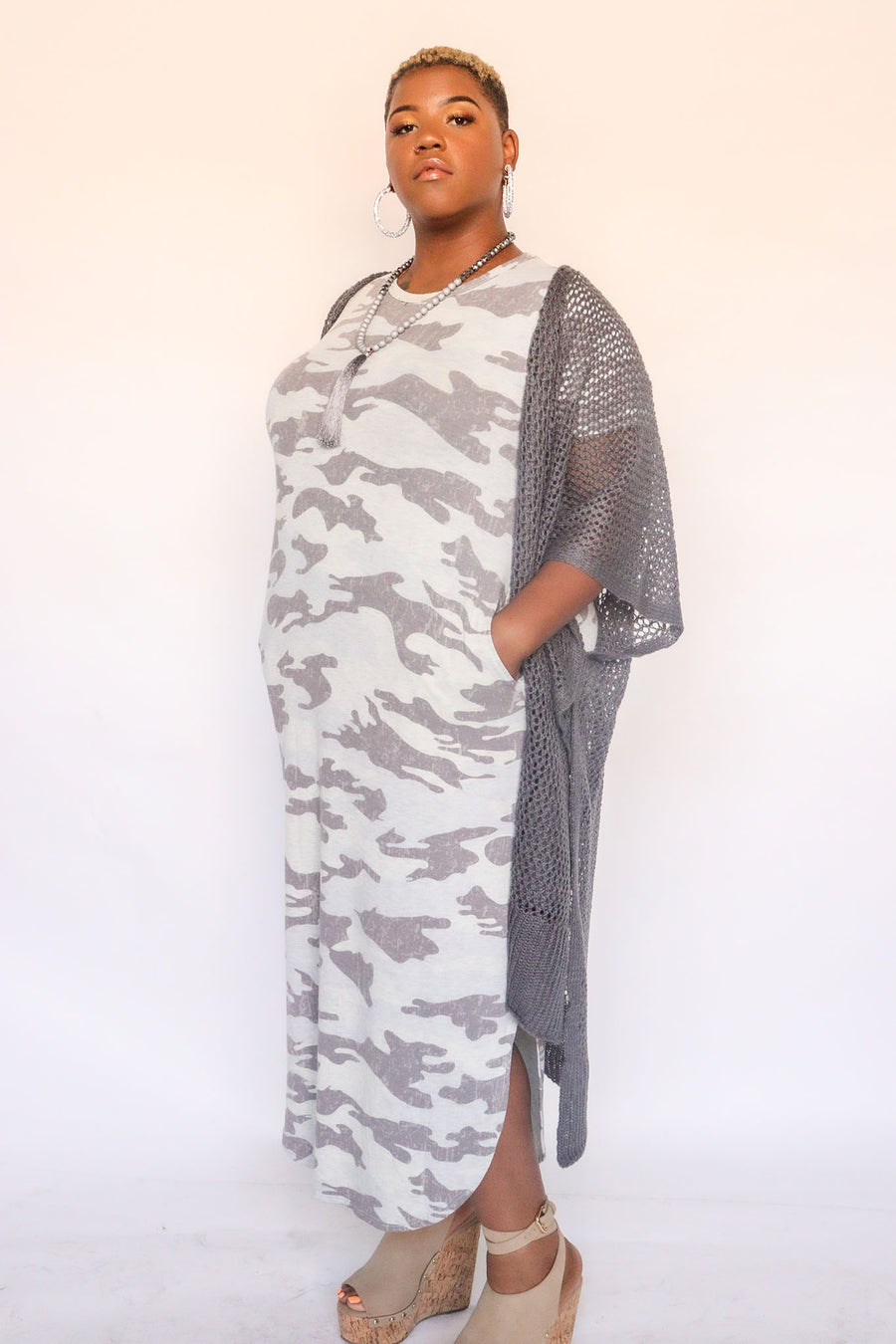 Knit Camo Oatmeal Maxi Dress