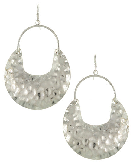 Silver Hammered Dangle Earrings