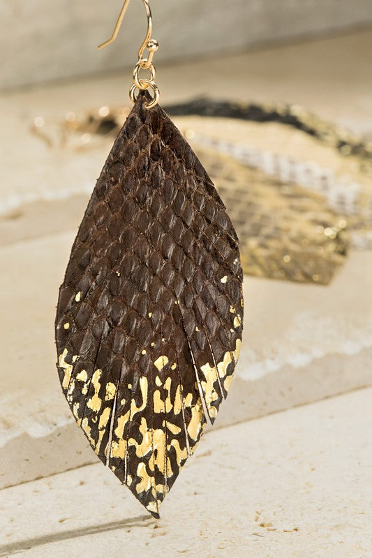 Leather Snake Print Dangle Drop Earrings