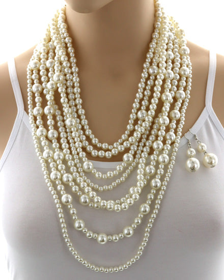 Multi Strand Pearl Necklace Set