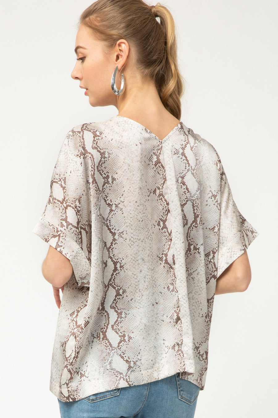 Short Sleeve Satin Snake Print V Neck Top