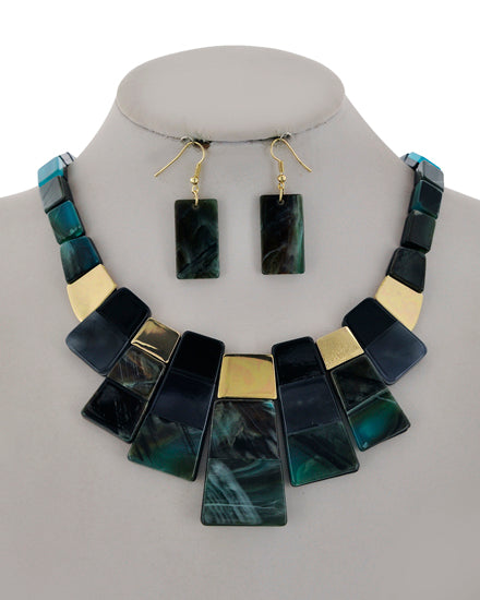 Statement Two Tone Necklace Set