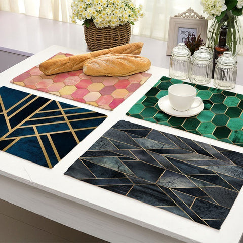 1Pcs Colorful Geometric Printed Kitchen Placemat Dining Table Mat Coaster Cotton Linen Pads Cup Mats 42*32cm Home Decor MG0028