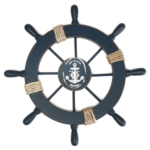 Mediterranean Nautical Wooden Ship Wheel Decor