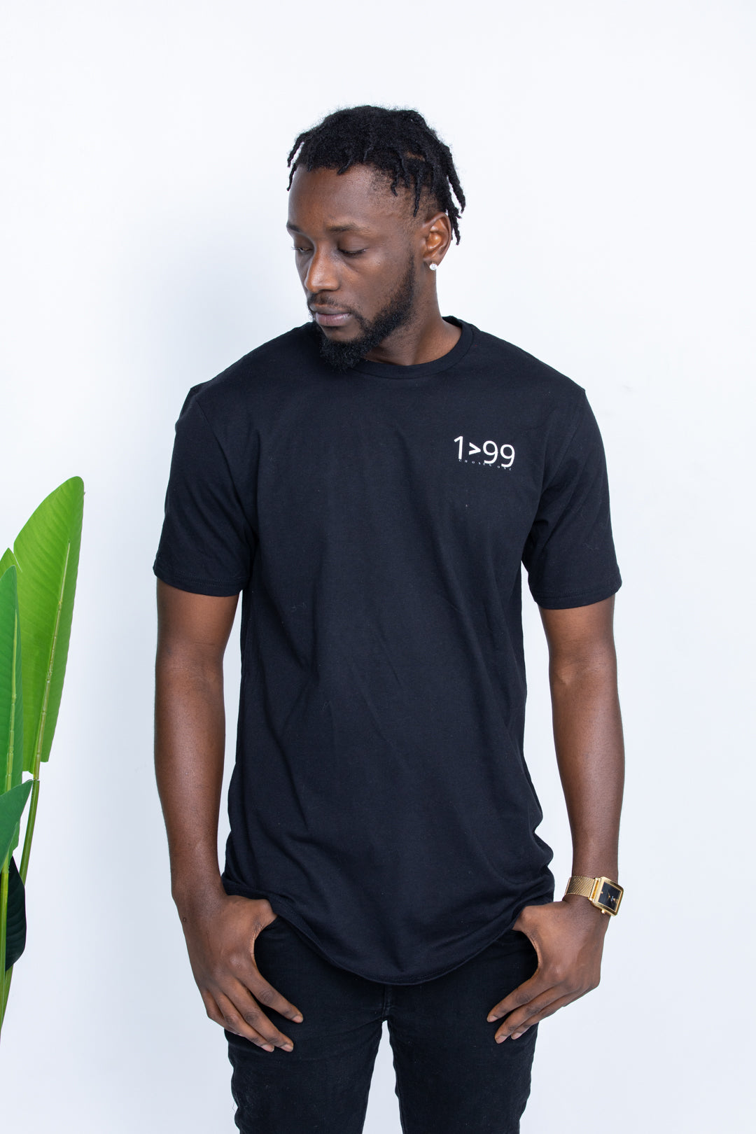 BLACK 1>99 LONG BODY SLEEVE CREW