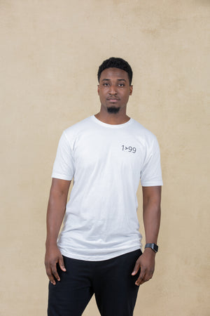 WHITE 1>99 LONG BODY SHORT SLEEVE CREW