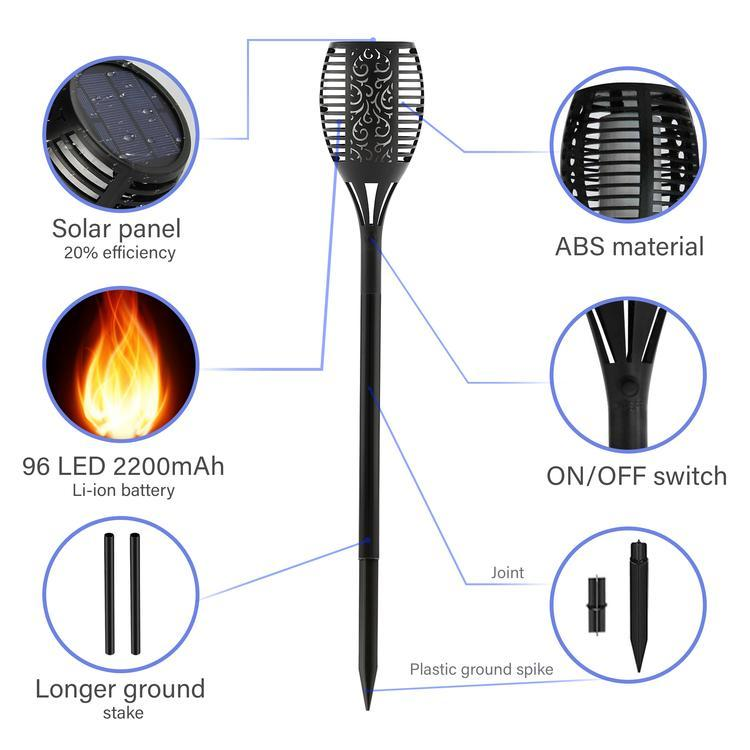 LED Solar Flickering Torch Stake Light - 96 LED