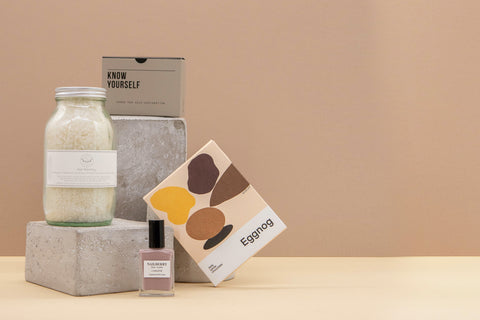 know yourself gift box with bath salt, chocolate, know yourself cards, nude nail lacquer