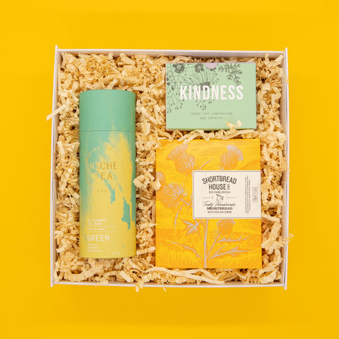 kindness gift box with a green tea by niche, sicilian lemon shortbread and a kindness cards to start your day with an intentional morning routine