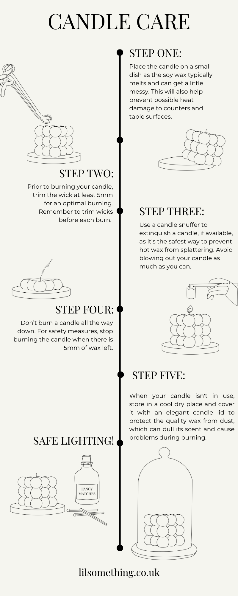 candle care guide in simple steps, how to take care of the candle, how to store the candles, before using the candle, when burning the candle