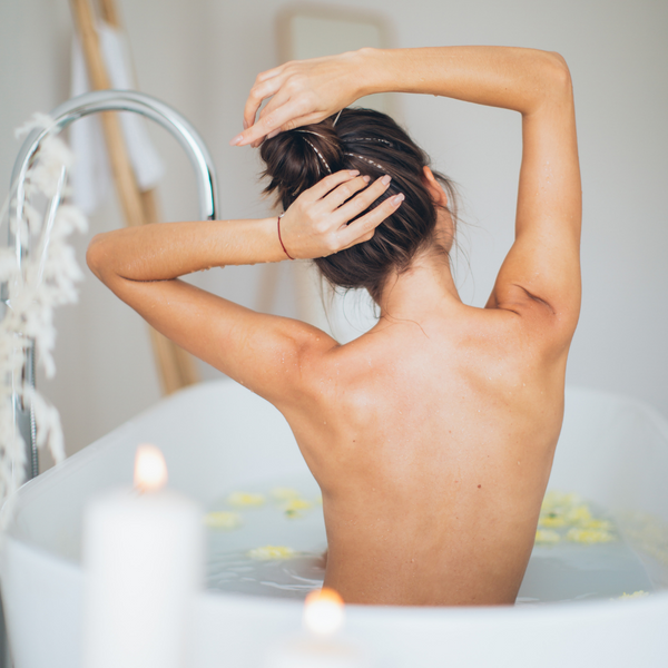 relaxing bath with a candle