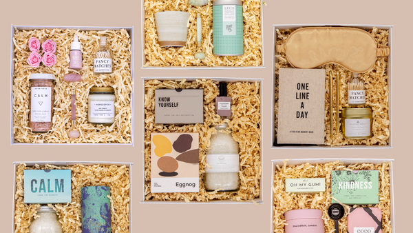 self care gift boxes in a square white luxurious gift box