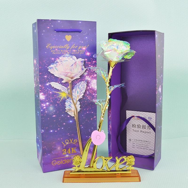 1 Pcs Glitter Colored gold Rose,Gift box Galaxy Rose with Love Base Luminous Rose Valentine Mother's Day Anniversary Gift AmericanGalore WITH LIGHT - WITH BASE