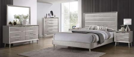 QUEEN SIZE BED IN METALLIC STERLING