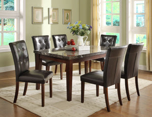 DINING TABLE + 6 CHAIR  MARBLE TOP  (DECATUR COLLECTION)