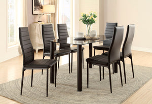 DINING TABLE GLASS TOP + 4 CHAIRS (FLORIAN COLLECTION)