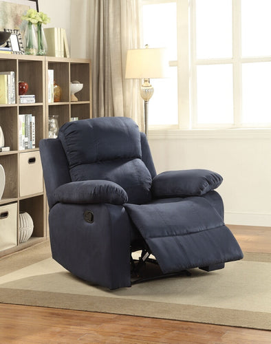Parklon Blue Microfiber Fabric Recliner Chair with Overstuffed Seats and Arms