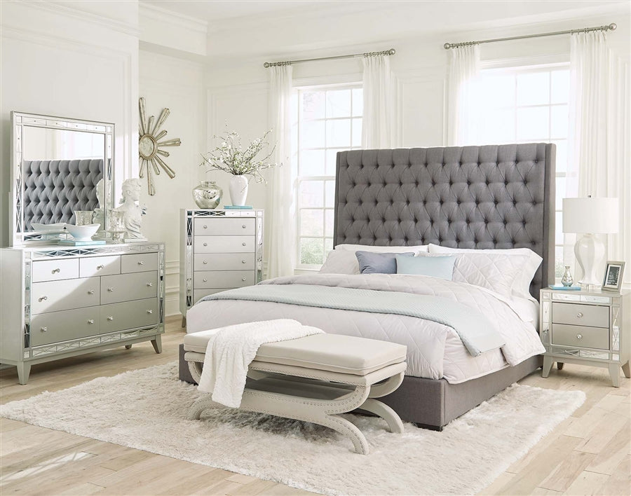 QUEEN BED - Mercury Metallic Finish