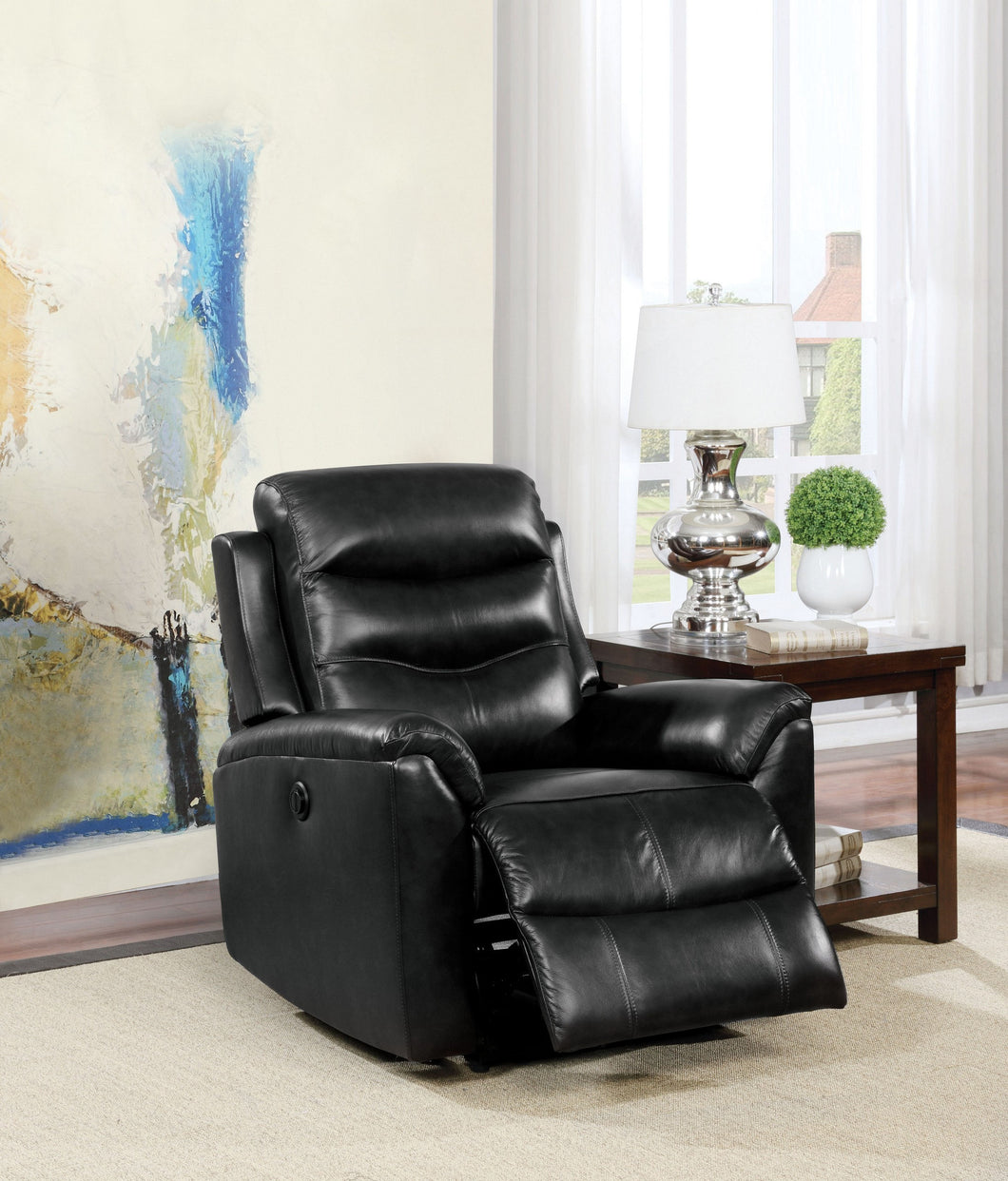 Top Grain Black Leather Power Motion Recliner