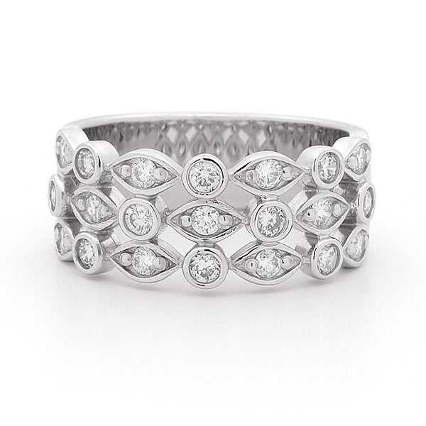 Wide Diamond Detailed Ring