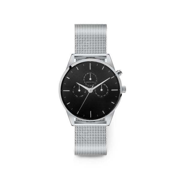 Unity Silver Mesh Black Dial 40mm Watch