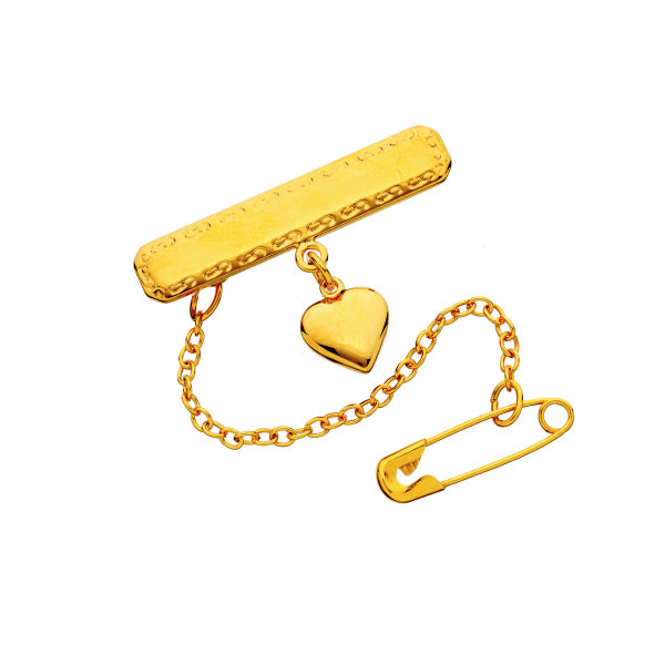 Gold Baby Brooch with Heart Charm