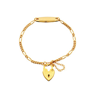 Baby's Gold Padlock Bracelet with ID Plate