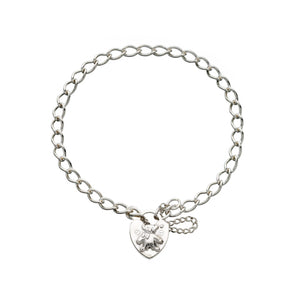 Baby's Heart Padlock Bracelet with Teddy Bear