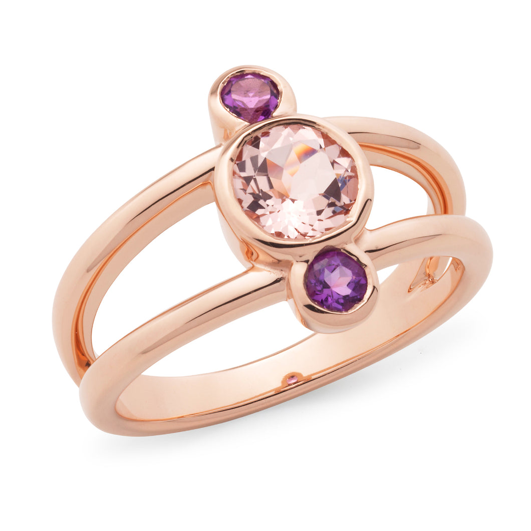Morganite and Amethyst Spilt Band Ring
