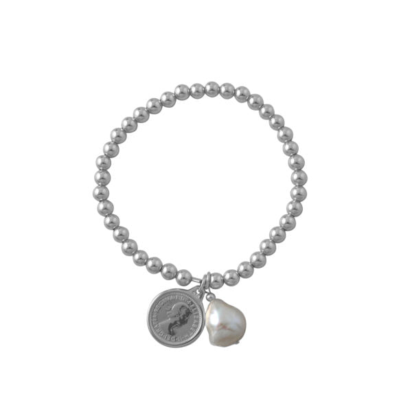 Stretchy Ball Bracelet With Threepence & Baroque Pearl