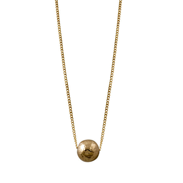 Fine Curb Chain Necklace With Hammered Ball
