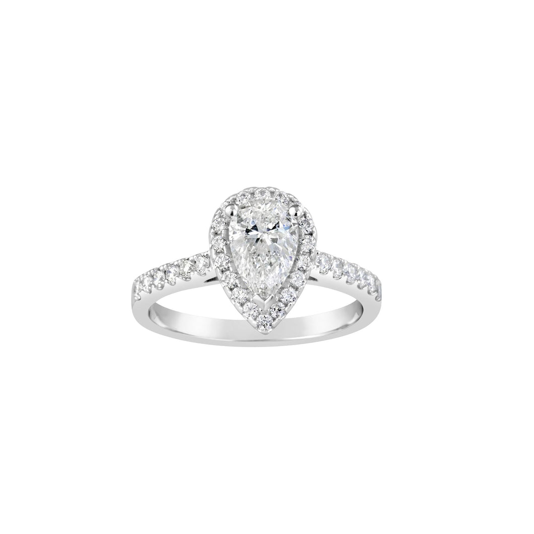Pear Halo One Carat Diamond RIng