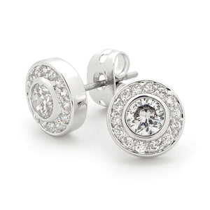 White CZ Round Earrings