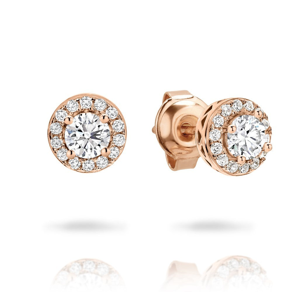 Petite Rose Gold CZ Halo Stud Earrings