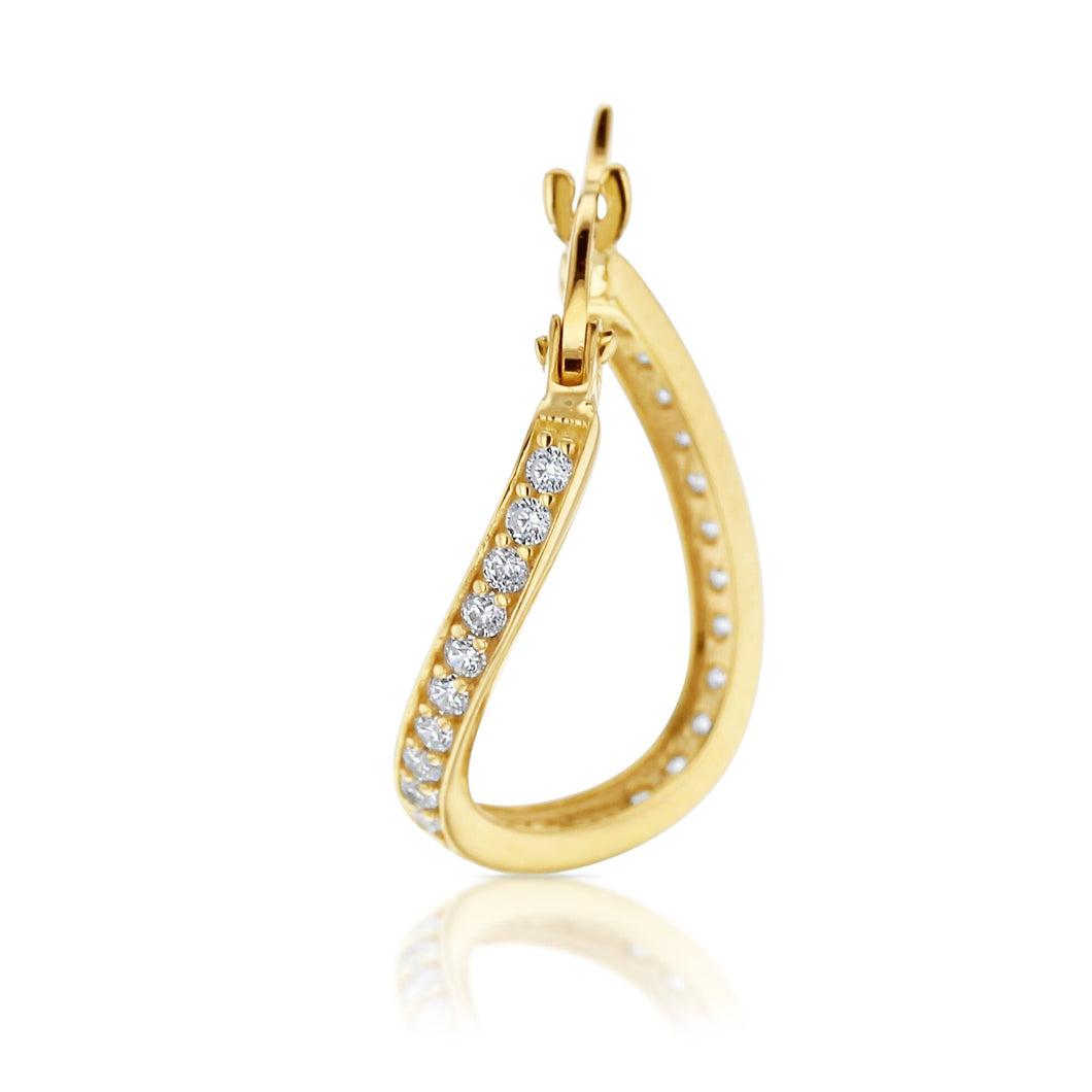 Cubic Zirconia Twisted Hoop Earring