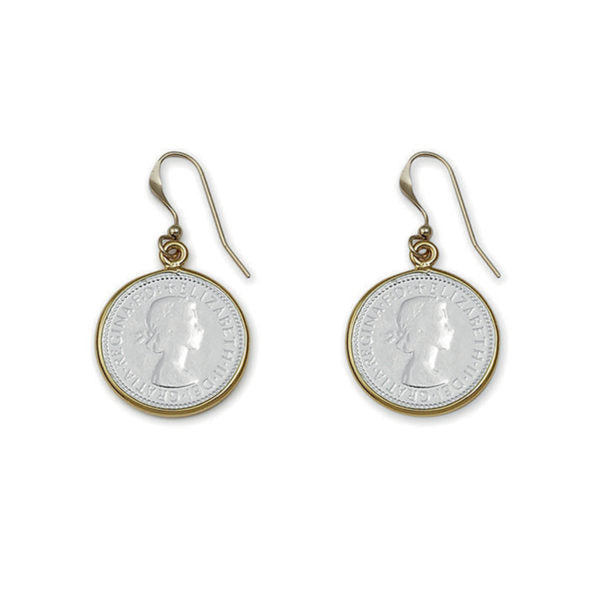 Two Tone Threepence Earrings - Gold