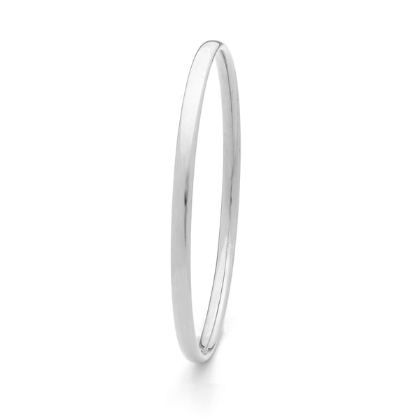 4.5mm Half Round Silver Filled White Bangle