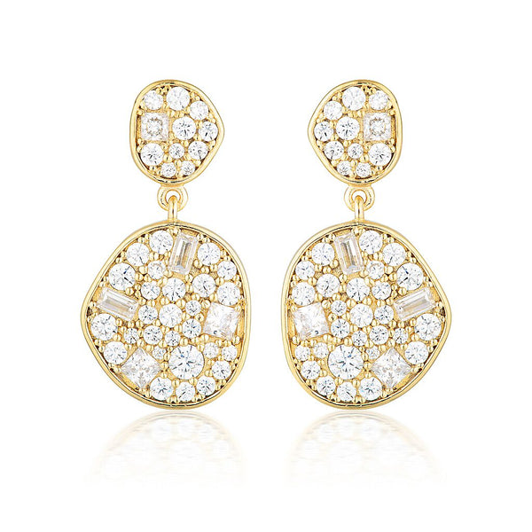 Anna Mosaic Gold Drop Earring