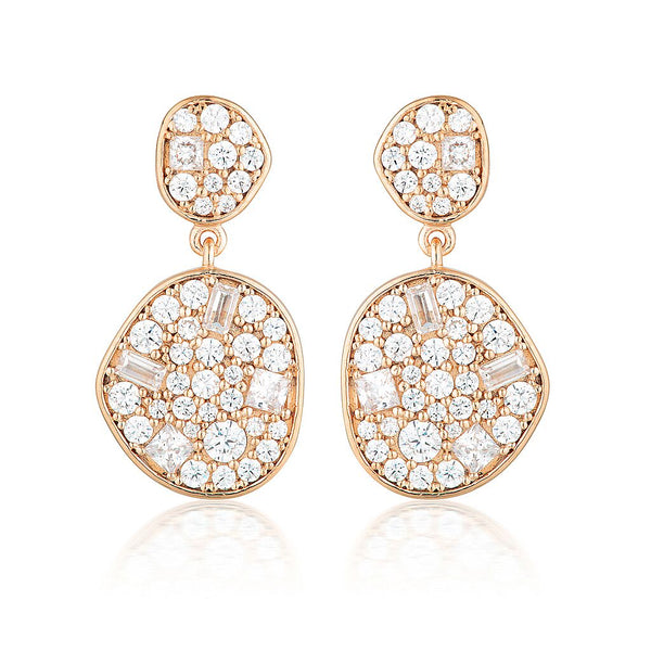Anna Mosaic Rose Gold Drop Earrings