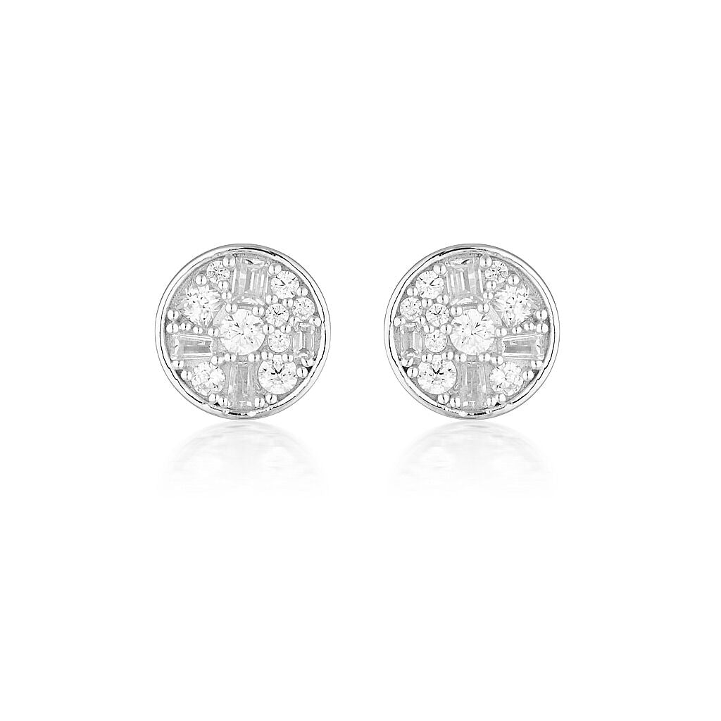 Mini Mosaic Silver Stud Earrings