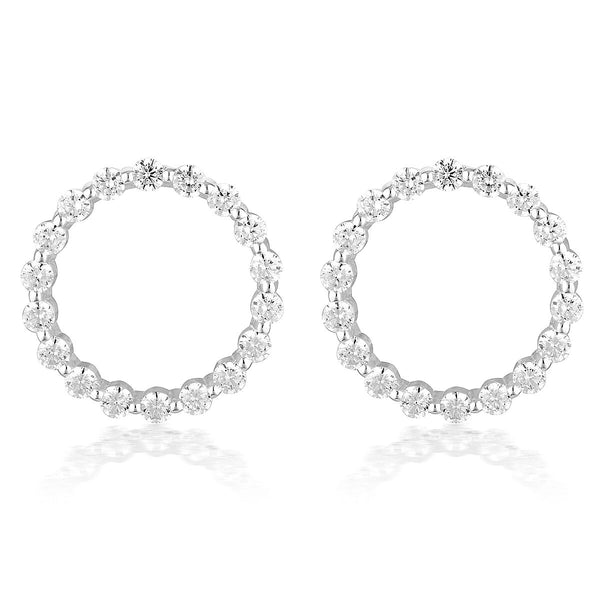 Large Circle of Life Silver Earrings